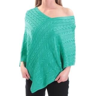 RALPH LAUREN $99 Womens New 1542 Turquoise V Neck PONCHO Sweater 2XS B+B