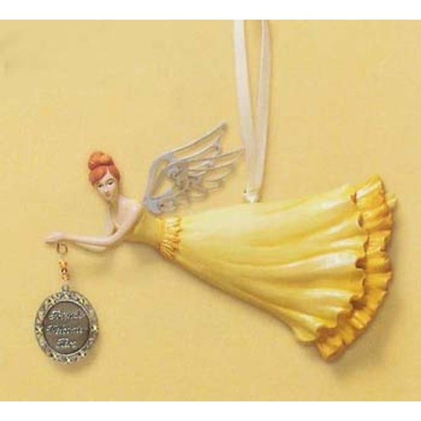 "RUSS ""Friends Welcome Here"" Angel Christmas Ornament #31206"