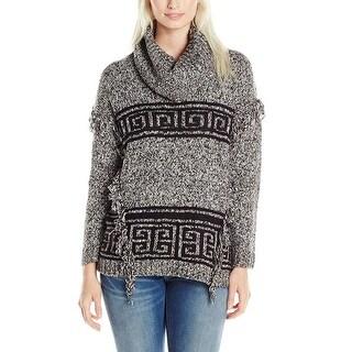 Kensie Printed Fringe Detail Cowlneck Sweater - l