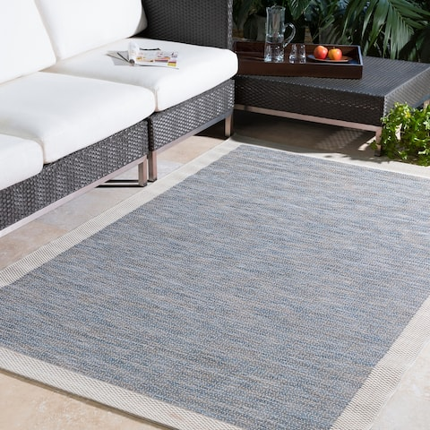 Cammie Solid Bordered Outdoor Area Rug