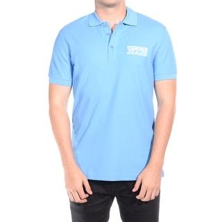 Versace Jeans Couture Men Vjc Logo Cotton Polo Shirt Blue
