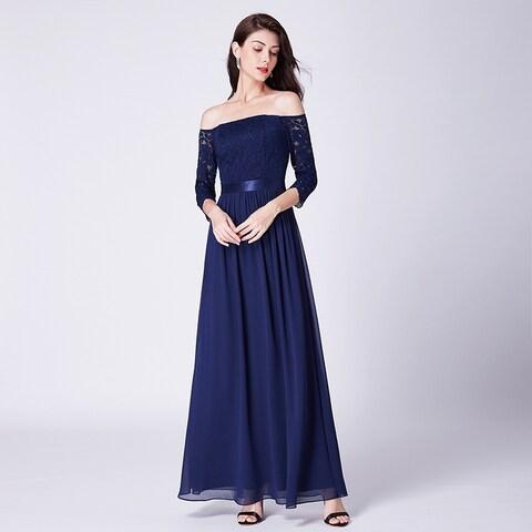Ever-Pretty Elegant Off Shoulder Lace Bridesmaid Dress 07478