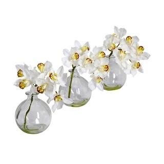 Nearly Natural Cymbidium with Vase Silk Flower Arrangement - Set of 3 - White
