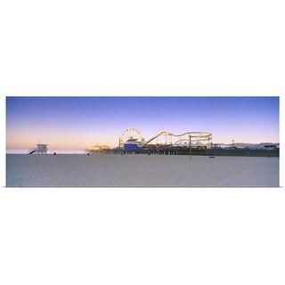 """Ferris wheel lit up at dusk, Santa Monica Beach, Santa Monica Pier"" Poster Print"