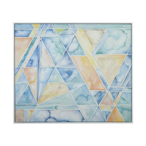 """Dimond Home 7011-1473 Geometric Conversion 56"""" x 48"""" Framed Painting on Hand Stretched Canvas - Blue"""