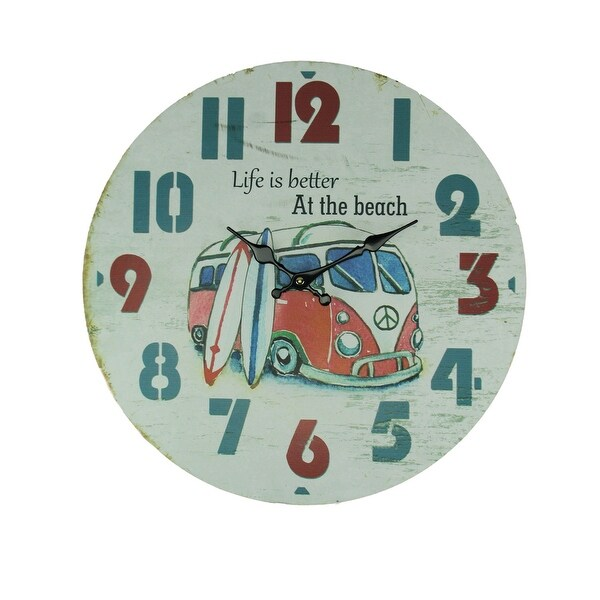 Weathered White Wood Vintage Surfer Bus Wall Clock - 15.75 X 15.75 X 1.25 inches