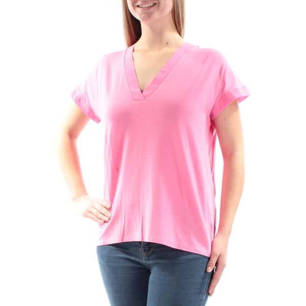 63a3ad135b29c0 Shop Ralph Lauren Womens Pink Short Sleeve V Neck Top Size: M - Free  Shipping On Orders Over $45 - Overstock.com - 21239301