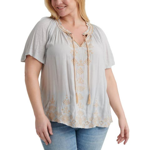 Lucky Brand Womens Plus Peasant Top Boho Embroidered - Grey - 1X