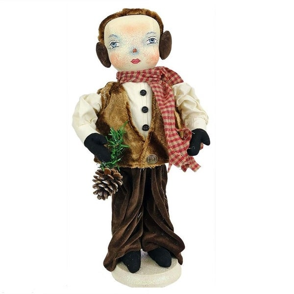 """15"""" Gathered Traditions """"Forrest"""" Snow Boy Decorative Christmas Figure with Stand"""