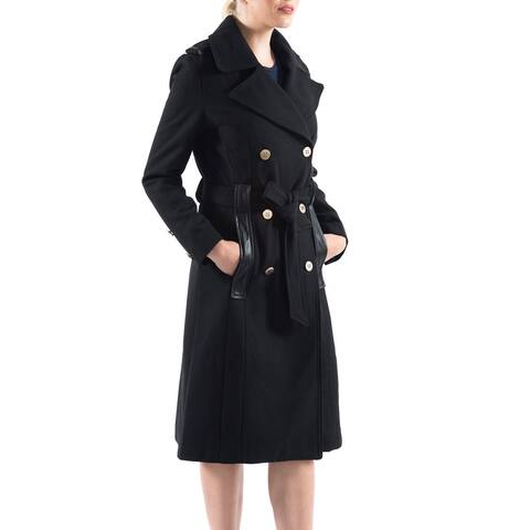 Alpine Swiss Womens Trench Coat Wool Double Breast Jacket Gold Buttons with Belt - Black