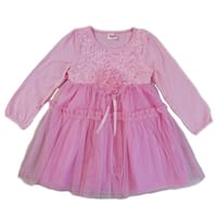 Wenchoice Girls Pink 3-D Flower Adorned Long Sleeve Dress