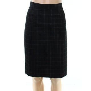 Amanda + Chelsea Black Square 12P Petite Straight Pencil Skirt