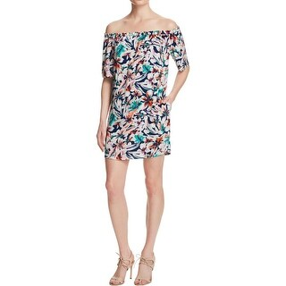 Ella Moss Womens Tahiti Mini Dress Off The Shoulder Printed - xs