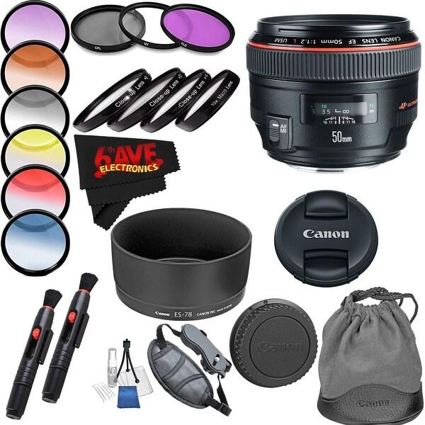 Canon EF 50mm f/1.2L USM Lens International Version (No Warranty) Professional Accessory Combo