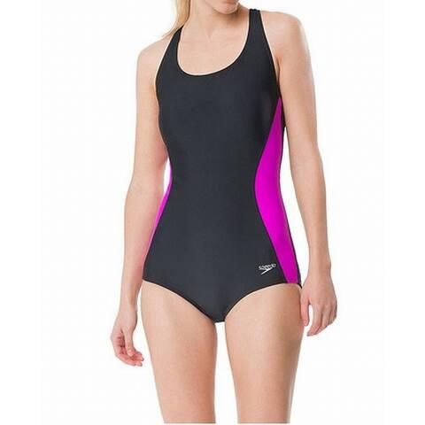 Speedo Womens Swimwear Black Size 14 Colorblock Splice-Back One-Piece