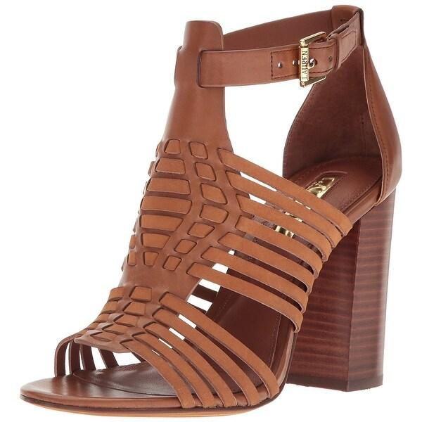 LAUREN by Ralph Lauren Womens Harietta Leather Open Toe Casual Ankle Strap Sa...