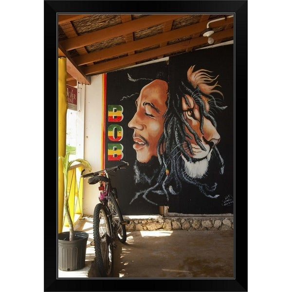 """Bob Marley mural at Blazer on the Bay bar and restaurant"" Black Framed Print"