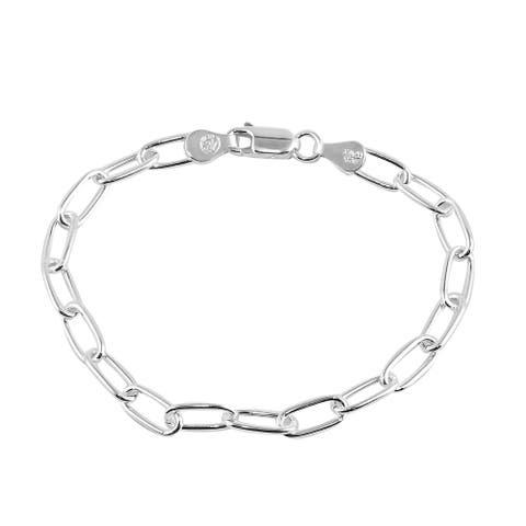 925 Sterling Silver Paper Clip Link Elegant Bracelet Size 7 Inch - Bracelet 7''
