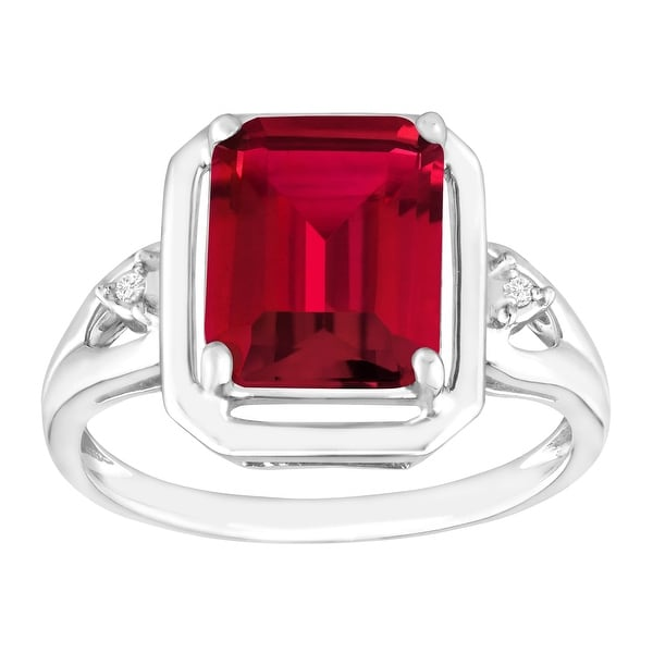 2 3/4 ct Created Ruby Ring with Diamonds in Sterling Silver - Red