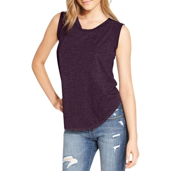 Alternative Womens Pullover Top Solid Cap Sleeves