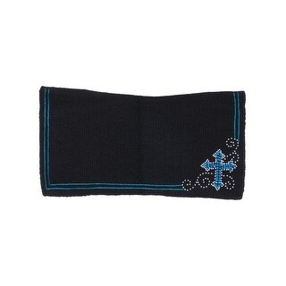 """Tough-1 Western Saddle Pad Cross Accent Wool 28"""" x 30"""""""