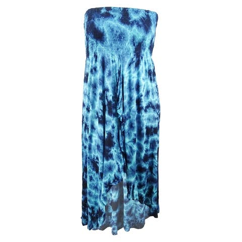 Raviya Women's Plus Tie-Dyed Waterfall Cover-Up Dress - Blue