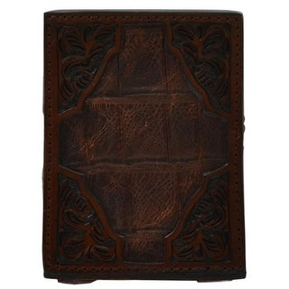 3D Western Pencil Holder Gator Print Inlay Floral Square Cognac OD282