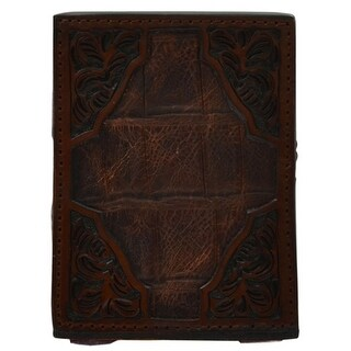 "3D Western Pencil Holder Gator Print Inlay Floral Square Cognac - 3"" x 4"" x 3"""