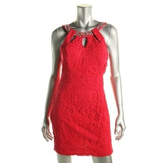 As U Wish Womens Juniors Lace Cut-Out Cocktail Dress