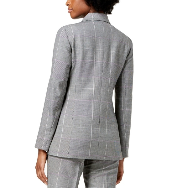 NINE WEST Womens Plaid Jacket with Solid Back Collar and Pockets