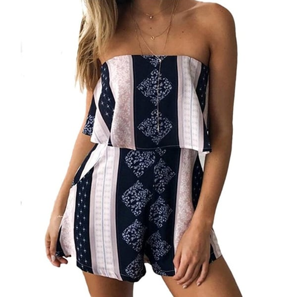7eee1074bde2 Shop Womens Off Shoulder Jumpsuit Strapless Floral Print Striped Beach  Shorts Rompers - Free Shipping On Orders Over  45 - Overstock - 23027490