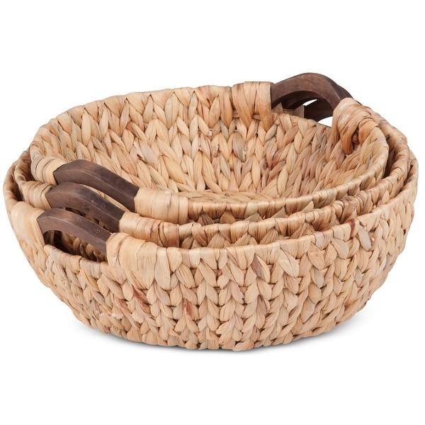 Honey-Can-Do STO-04469 Round Natural Basket Set, 3 Piece