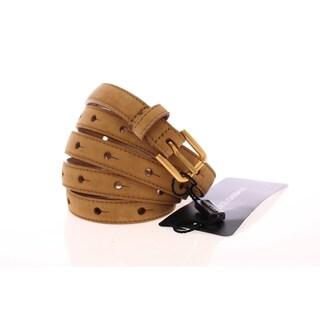 Dolce & Gabbana Beige Leather Suede Belt - 90-cm-36-inches