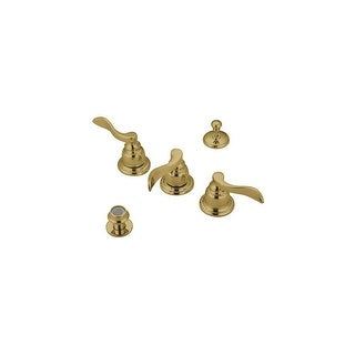 Elements Of Design EB8322NFL Nu-Day Three Handle Bidet Faucet with Brass Pop-up - Polished brass