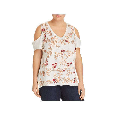 Lucky Brand Womens Plus Casual Top Floral Embroidered