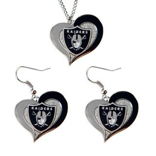 Oakland Raiders NFL Swirl Heart Pendant Necklace And Earring Set Charm Gift
