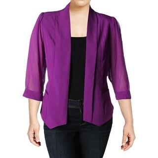 City Chic Womens Plus Blazer Open Front Sheer