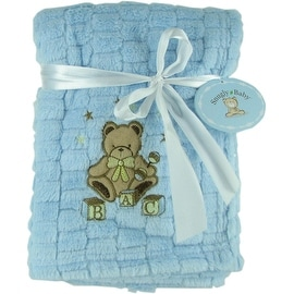 Snugly Baby Blue Fleece Baby Blanket w/ Embroidered Bear
