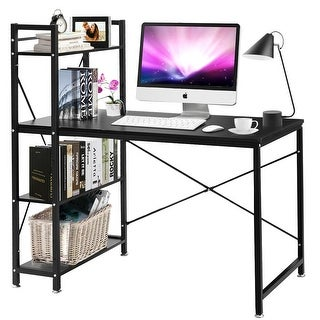 Costway Modern Computer Desk With 4-Tier Shelves PC Workstation Study Table Home Office