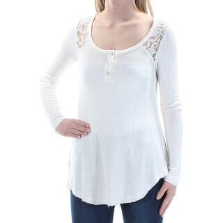 Womens Ivory Long Sleeve Jewel Neck Top Size XS