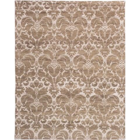 ECARPETGALLERY Hand-knotted La Seda Beige, Ivory Silk, Wool Rug - 8'0 x 10'0