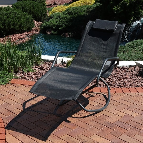 Tommy Bahama Outdoor Cushions, Shop Sunnydaze Outdoor Folding Rocking Chaise Lounger With Headrest Pillow Black Single Overstock 22890396