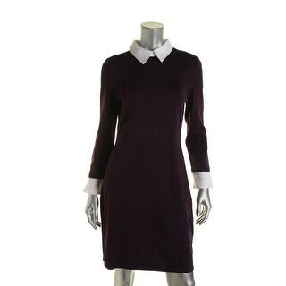 Lauren Ralph Lauren Womens Collared Long Sleeves Sweaterdress