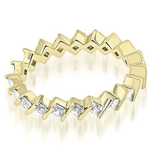1.40 cttw. 14K Yellow Gold Stylish Bar Set Princess Cut Diamond Eternity Band