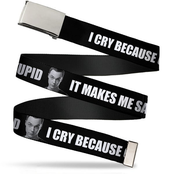 "Blank Chrome 1.0"" Buckle Sheldon I Cry Because Others Are Stupid That Makes Web Belt 1.0"" Wide - S"