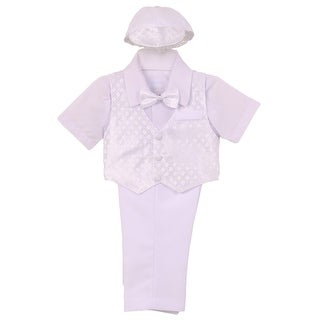 Little Boys White Checkered Vest Shirt Bow Tie Hat Pant Baptism Set 3-4T