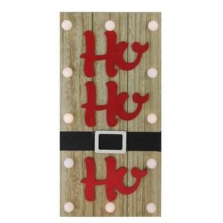 "15.75"" Candy Apple Red HO HO HO Decorative Battery Operated Wall Decor"