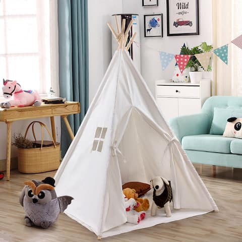 Gymax Portable Play Tent Teepee Children Playhouse Sleeping Dome w/Carry Bag