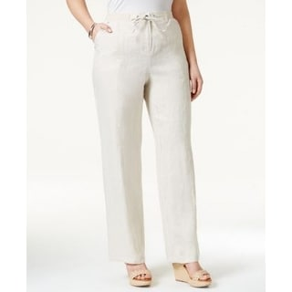 JM Collection NEW White Womens Size 8 Drawstring Button Linen Pants