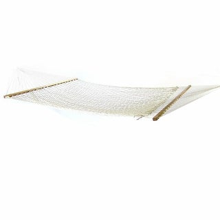 Sunnydaze 2-Person Polyester Rope Hammock with Spreader Bars, Natural, 450 Pound